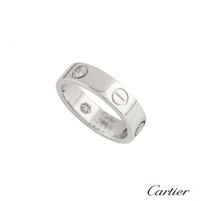 CartierWhite Gold Half Diamond Love Ring Size 58 B4032558